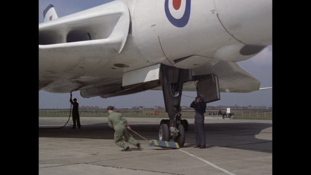 1959 raf avro vulcan prepares for takeoff - supersonic airplane stock videos and b-roll footage