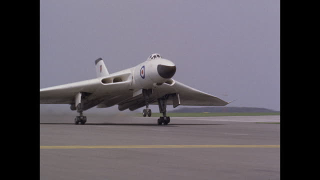 1959 raf avro vulcan supersonic jet takes off - supersonic airplane stock videos and b-roll footage