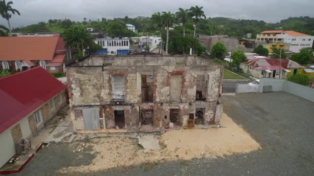 avs ruins of courthouse from morant bay rebellion - 1865 stock videos & royalty-free footage