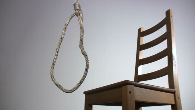 awaiting gallows on white - hanging gallows stock videos & royalty-free footage