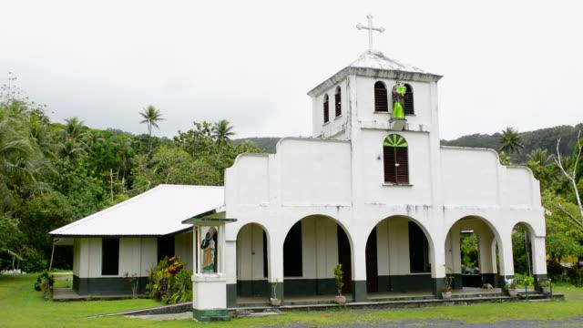 awak village micronesia oceania st joseph catholic church for local community - oceania stock videos & royalty-free footage