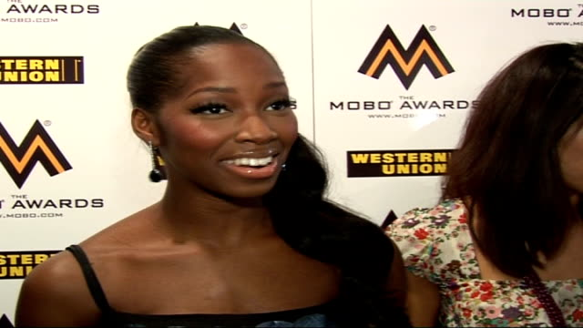 awards 2006 launch party jamelia interview sot really happy to be back / don't mind if i don't win another mobo award / on how she got her figure... - 胴体点の映像素材/bロール
