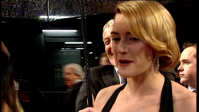 red carpet arrivals and interviews with itv news; kate winslet interview sot - on being nominated for two best actress awards / on nerves calming... - kate winslet stock videos & royalty-free footage