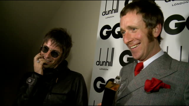 Arrivals and interviews Corden interview SOT Liam Gallagher and Bradley Wiggins interview SOT on winning GQ Award Gallagher interview SOT someone who...
