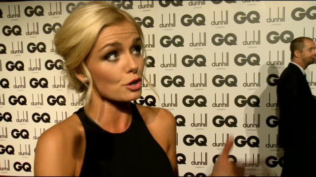 arrivals and interviews katherine jenkins chatting to press katherine jenkins interview sot on hurtful rumour had to stand up for myself and put it... - andrew lloyd webber stock videos and b-roll footage