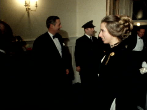 vídeos de stock, filmes e b-roll de awards; england, london, albert hall princess anne enters and shakes, greets richard cawston and richard attenborough, actors princess anne stands... - royal albert hall