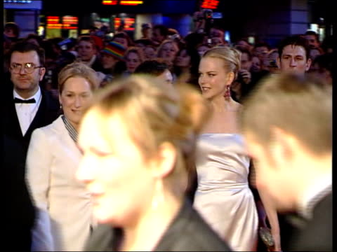 london leicester square ms actresses meryl streep and nicole kidman arriving at ceremony hand in hand - nicole kidman stock videos & royalty-free footage