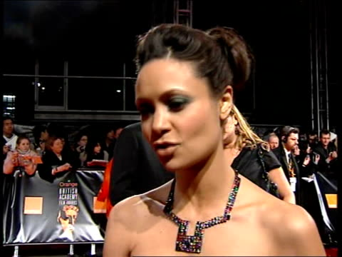 red carpet arrivals thandie newton interview sot discusses british films and helen mirren nomination for the queen - thandie newton stock videos & royalty-free footage