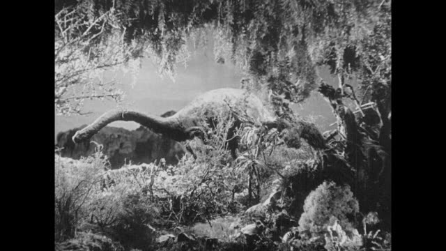 1925 Awe struck explorers observe placid plant eating allosaurus