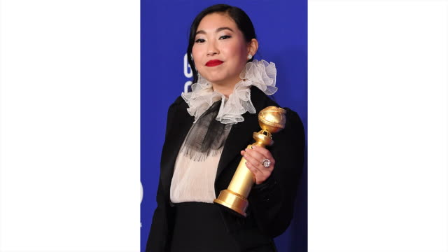 awkwafina poses in the press room during the 77th annual golden globe awards at the beverly hilton hotel on january 05, 2020 in beverly hills,... - golden globe awards stock videos & royalty-free footage