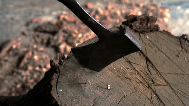 Axe slamming into block of wood