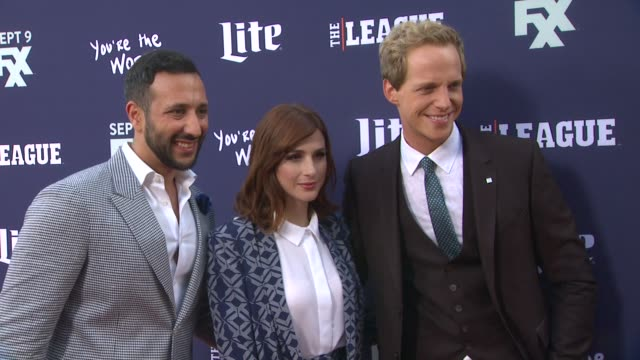 Aya Cash Desmin Borges and Chris Geere at the Premiere of FXX's The League Final Season and You're The Worst 2nd Season at Regency Bruin Theater on...