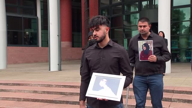 seven men jailed for life; england: lancashire: preston crown court: ext ibrahim hachem speaking to press sot. - crime and murder stock videos & royalty-free footage