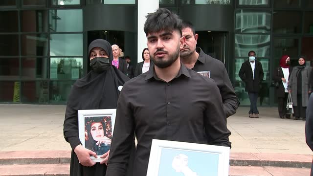 seven men jailed for life; england: lancashire: preston crown court: ext ibrahim hachem speaking to press outside court sot - [re sentencing of seven... - crime and murder stock videos & royalty-free footage
