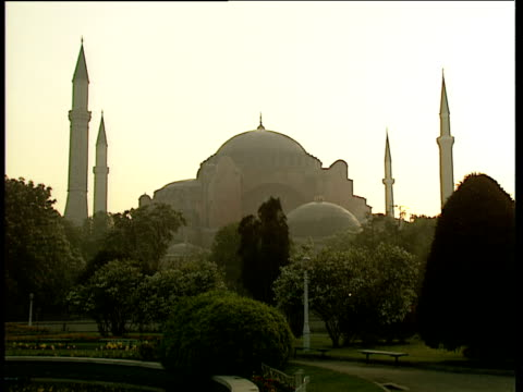 Aya Sofia Mosque in early morning misty light trees in foreground Istanbul