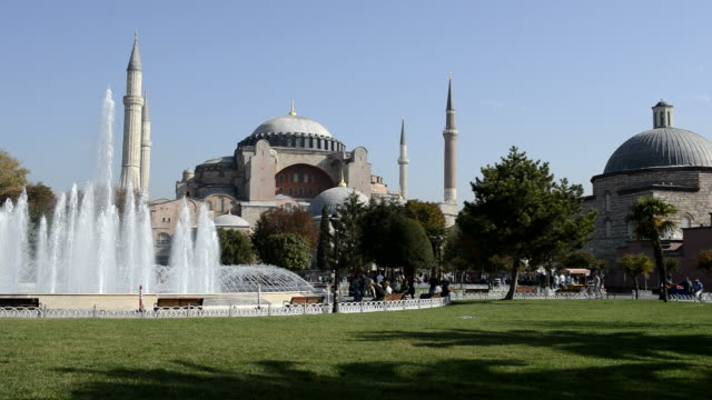 HD: Aya Sofya and park in Istanbul.
