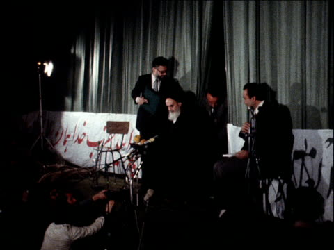 Ayatollah Khomeini speaks at press conference for the first time since returning from exile Iran 3 February 1979