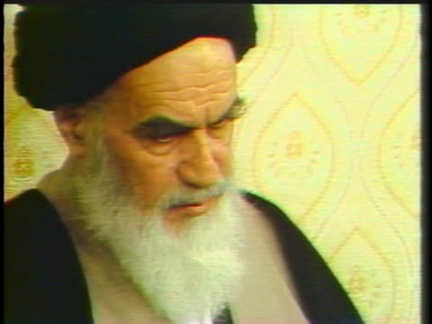 ayatollah khomeini warns of possible hostage trials for espionage. - (war or terrorism or election or government or illness or news event or speech or politics or politician or conflict or military or extreme weather or business or economy) and not usa stock videos & royalty-free footage