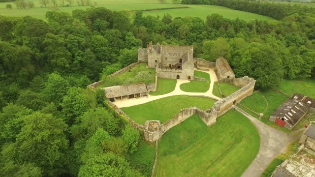 aydon castle aerial descending shot front - circa 14th century stock videos & royalty-free footage