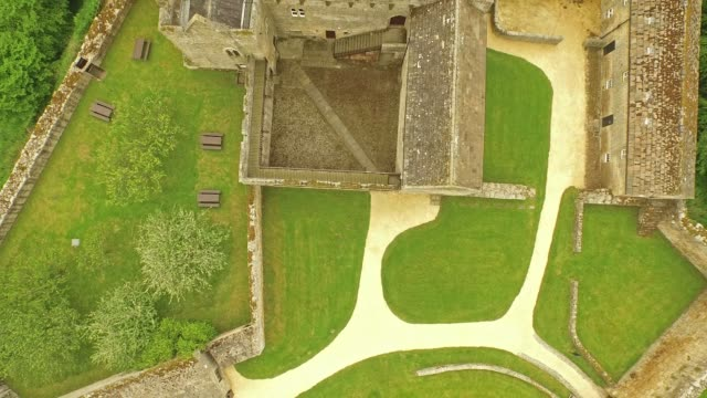 aydon castle - aerial rising top shot - circa 14th century stock videos & royalty-free footage