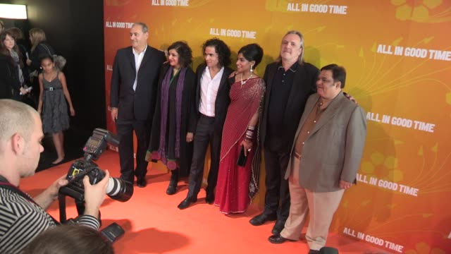 ayub khan din, meera syal, reece ritchie, amara karan, nigel cole & harish patel at gala premiere of all in good time at bfi southbank on may 8, 2012... - meera syal stock videos & royalty-free footage