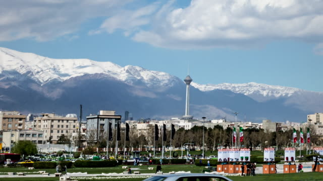 azadi square and milad tower timelapse, tehran iran - iran stock videos and b-roll footage