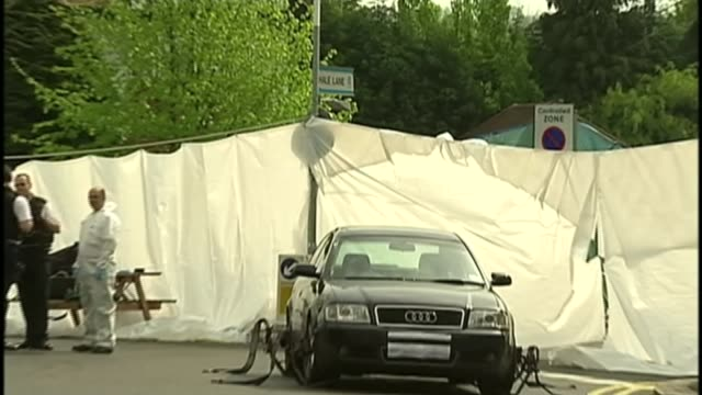 police marksman on trial for murder lib edgware road sign 'hale lane' pull out to car involved in shooting screened off with sheeting police forensic... - shooting range stock videos and b-roll footage