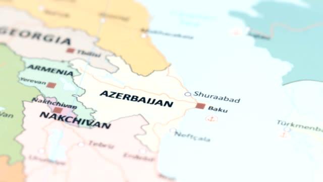 asia azerbaijan on world map - azerbaigian video stock e b–roll