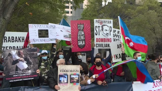 azerbaijani community members staged a protest near the united nations headquarters in new york on october 18 2020 against armenian attacks on... - midday stock videos & royalty-free footage