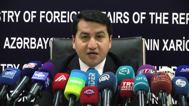 Azerbaijani Foreign Ministry spokesman Hikmat Hajiyev holds a press conference in Baku Azerbaijan on December 28 2017