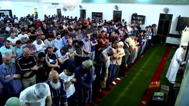 Azerbaijani Muslims perform Tarawih Prayer on the eve of the holy fasting month of Ramadan in Baku Azerbaijan on May 16 2018