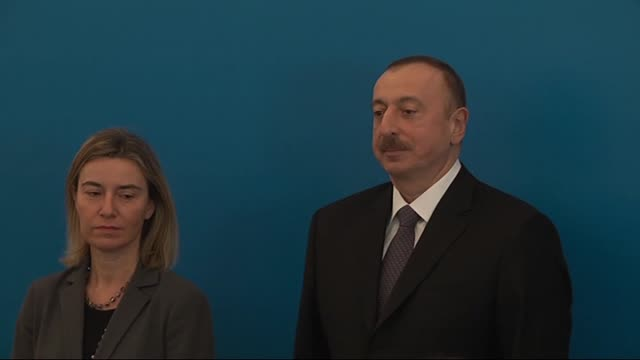 azerbaijani president heydar aliyev, high representative of the european union for foreign affairs and security policy federica mogherini,... - coloured background stock videos & royalty-free footage