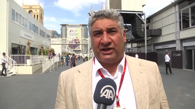 azerbaijani youth and sports minister azad rahimov talks to journalists before the qualifying session of the european formula one grand prix at baku... - baku video stock e b–roll