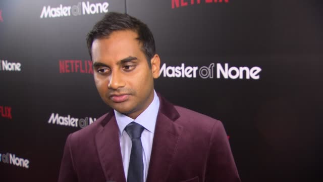 interview aziz ansari discusses his show how it was cast and what makes it so much like real life at master of none new york premiere at amc loews... - amc loews stock videos and b-roll footage