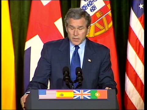 azores emergency summit pool bush blair aznar and barroso at podiums for press conference us president george w bush press conference sot 'the... - weapons of mass destruction stock videos and b-roll footage