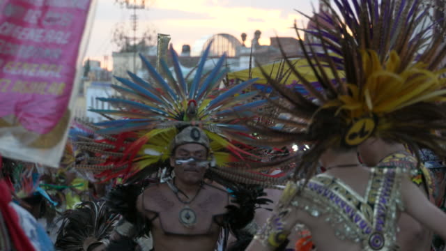 aztec conchero dancers performing - aztec civilization stock videos and b-roll footage