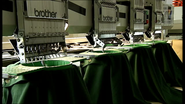 greater manchester bolton aztec designs int various of male worker operating series of sewing machies / series of brother sewing machines... - embroidery stock videos & royalty-free footage