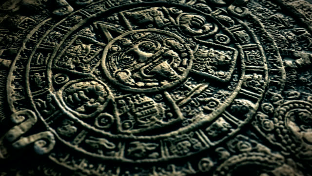 aztec sun stone - stone material stock videos & royalty-free footage