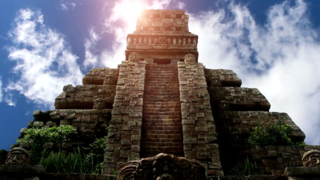 aztec temple in yucatan - archaeology stock videos & royalty-free footage