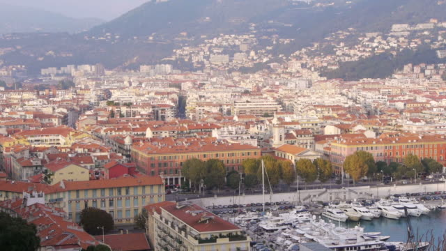 W/S Azur, harbour, boats, mountains, rooftops, Nice, France