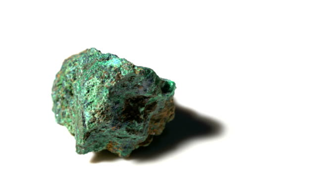 azurite mineral stone sample in rotation with white background - solid stock videos & royalty-free footage
