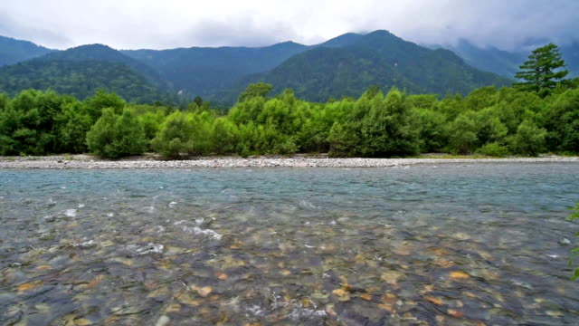 Azusa River and Hotaka Mountain in Kamikochi, Japan