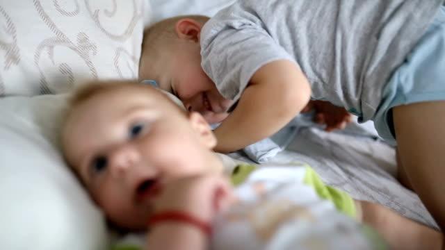 babies kiss each other hands - lingua umana video stock e b–roll