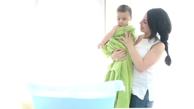 baby bath time - towel stock videos & royalty-free footage
