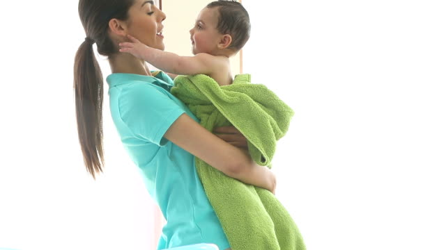 baby bath time - towel stock videos and b-roll footage