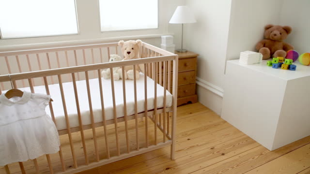 baby bedroom with crib - cot stock videos & royalty-free footage