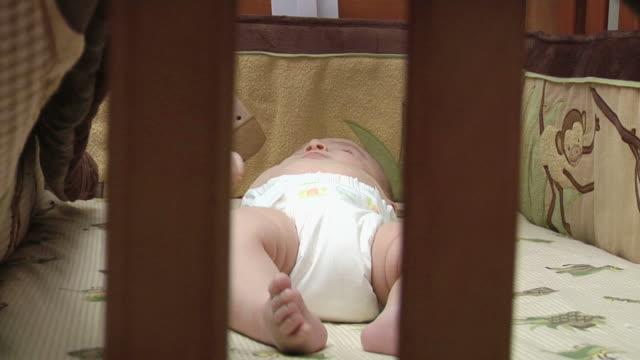 baby boy 6 - crib stock videos & royalty-free footage