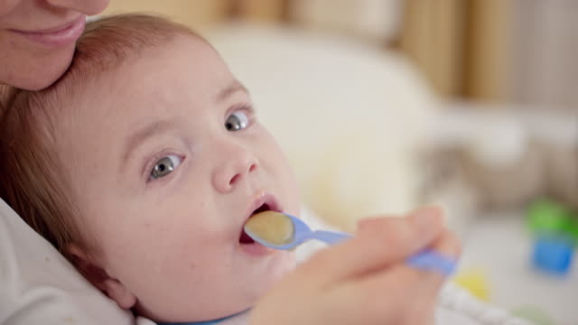 baby boy being fed by his mother - spoon stock videos & royalty-free footage