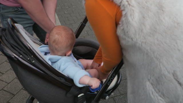 baby boy in a stroller - pushchair stock videos and b-roll footage