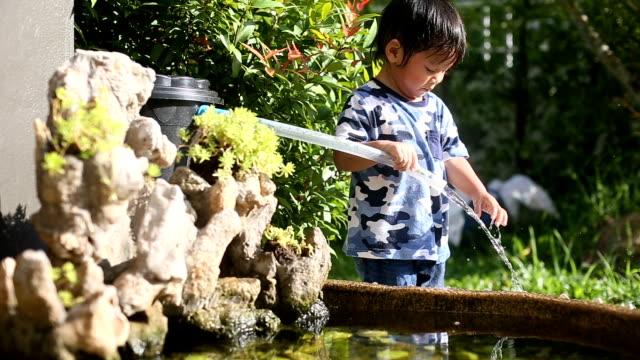 vídeos y material grabado en eventos de stock de niño jugando en el estanque de peces. - sólo niños bebés